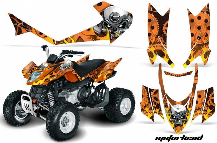 Arctic Cat DVX250 ATV Graphics: Motorhead - Orange Quad Graphic Decal Wrap Kit