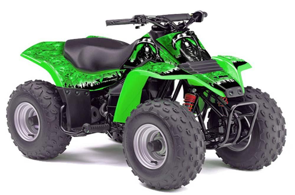 Kawasaki KFX 80 ATV Graphics: Reaper - Green Quad Graphic Decal Wrap ...