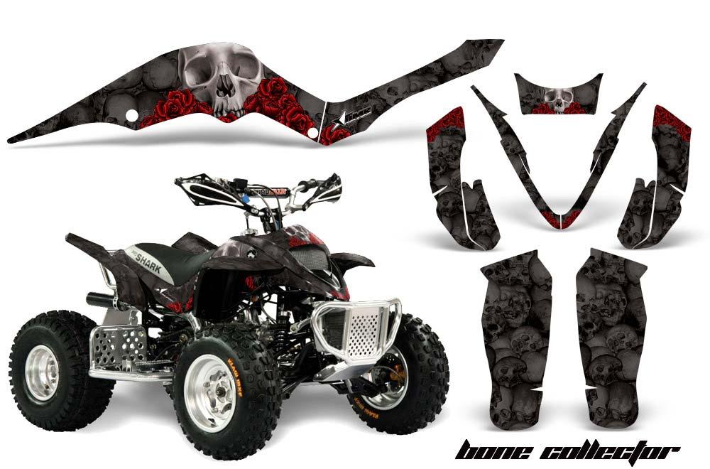 Apex Pro Shark MXR 70/90 ATV Graphics: Bone Collector - Black Quad Graphic Decal Wrap Kit