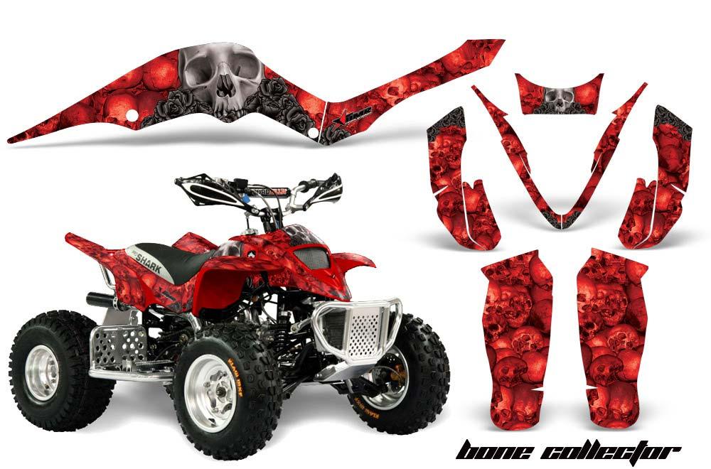 Apex Pro Shark MXR 70/90 ATV Graphics: Bone Collector - Red Quad Graphic Decal Wrap Kit
