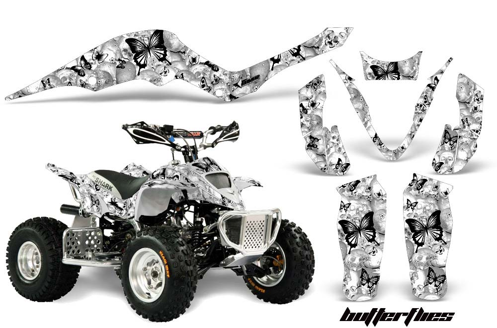 Apex Pro Shark MXR 70/90 ATV Graphics: Butterflies - Black Quad Graphic Decal Wrap Kit