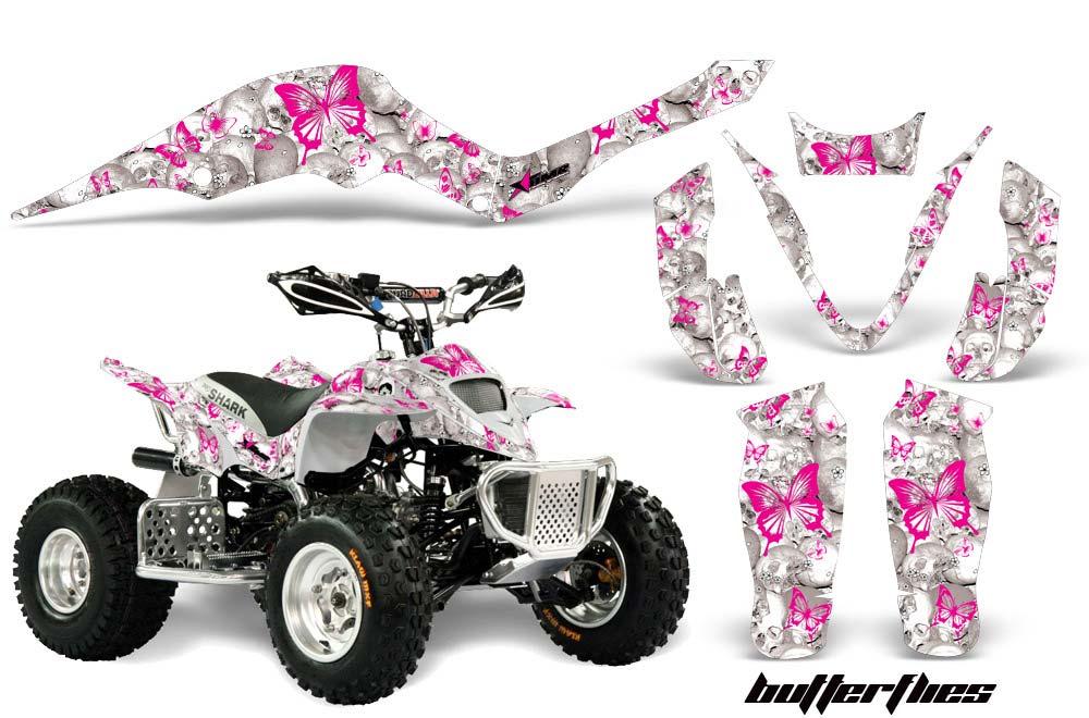 Apex Pro Shark MXR 70/90 ATV Graphics: Butterflies - Pink Quad Graphic Decal Wrap Kit