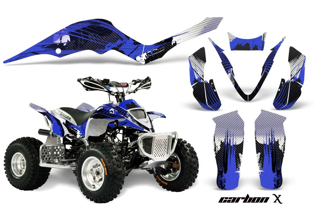 Apex Pro Shark MXR 70/90 ATV Graphics: Carbon X - Blue Quad Graphic Decal Wrap Kit