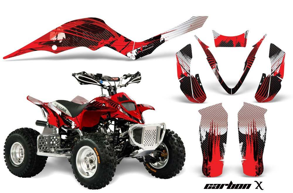 Apex Pro Shark MXR 70/90 ATV Graphics: Carbon X - Red Quad Graphic Decal Wrap Kit