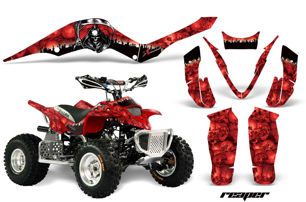 Apex Pro Shark MXR 70/90 ATV Graphics: Reaper - Red Quad Graphic Decal Wrap Kit