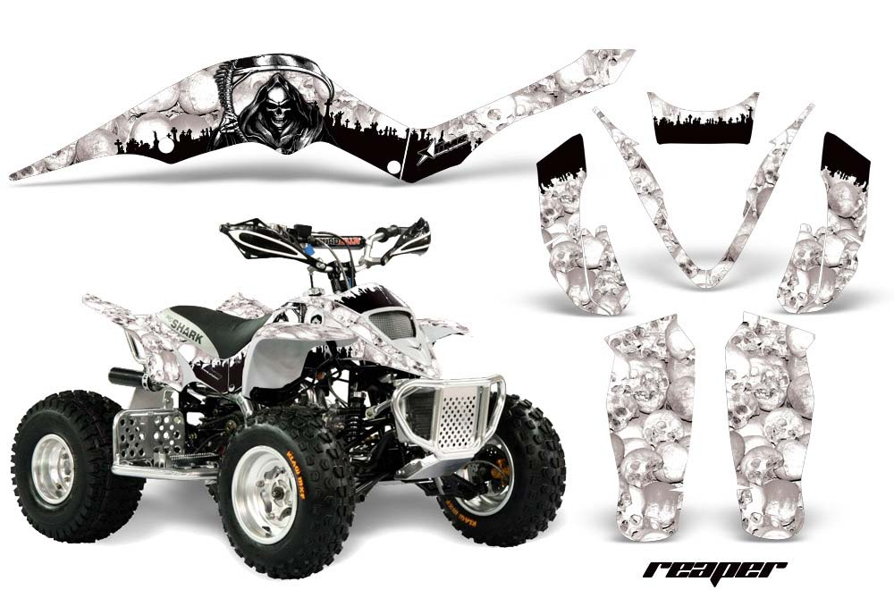 Apex Pro Shark MXR 70/90 ATV Graphics: Reaper - White Quad Graphic Decal Wrap Kit