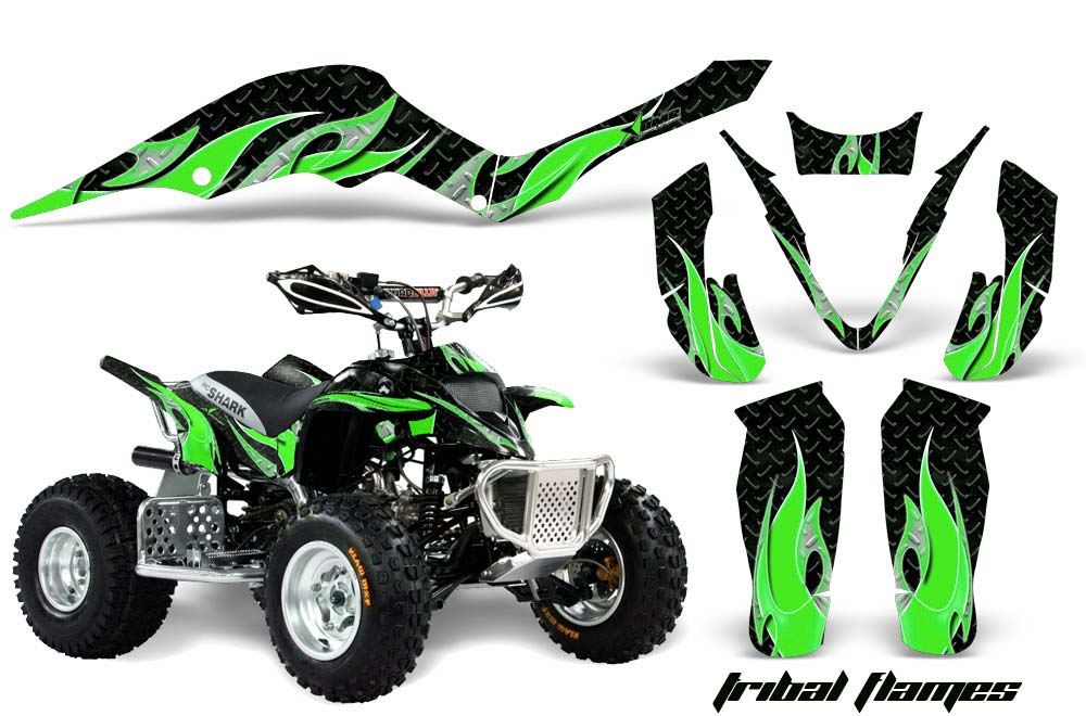 Apex Pro Shark MXR 70/90 ATV Graphics: Tribal Flames - Green Quad Graphic Decal Wrap Kit