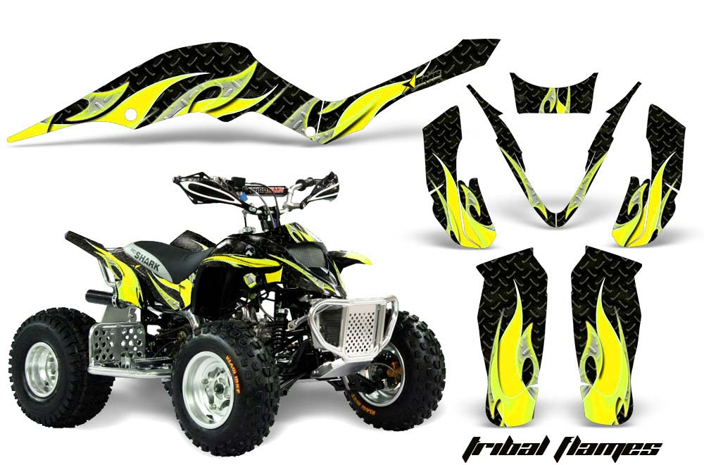 Apex Pro Shark MXR 70/90 ATV Graphics: Tribal Flames - Yellow Quad Graphic Decal Wrap Kit