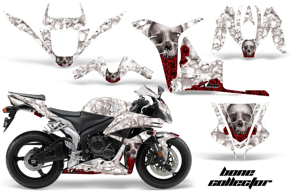 Honda CBR 600 RR Street Bike Graphics: Bone Collector - White Sport Bike Graphic Decal Wrap Kit
