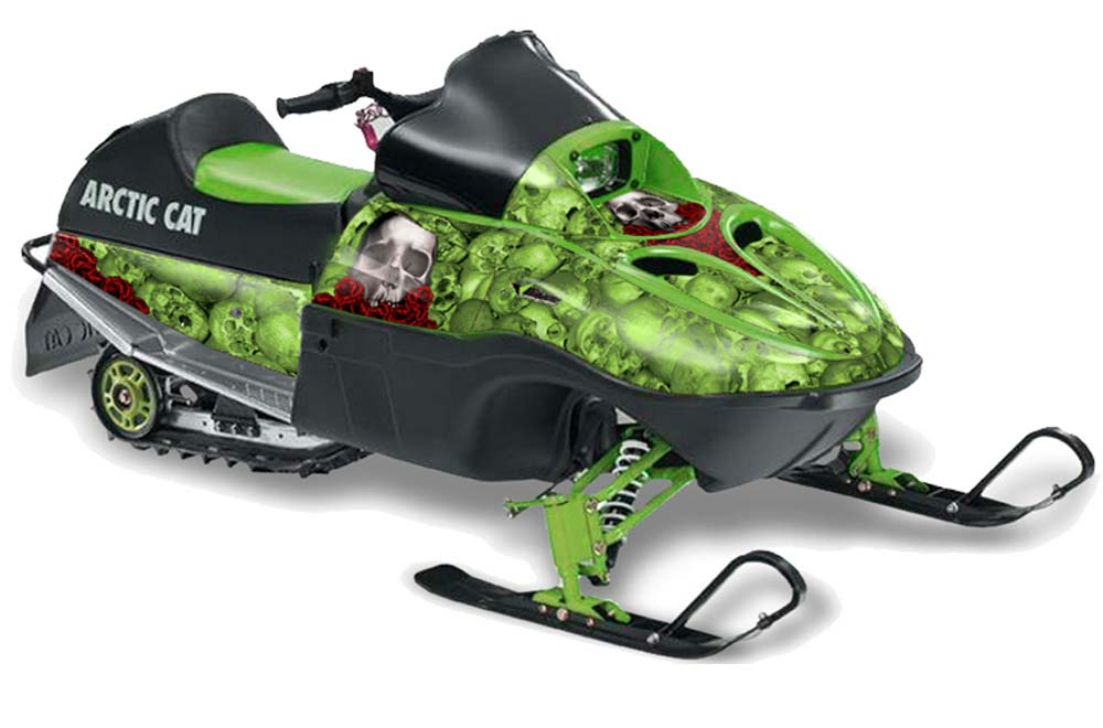 Arctic Cat 120 Sno Pro Youth Sled Graphics: Bone Collector - Green Snowmobile Graphic Decal Wrap Kit