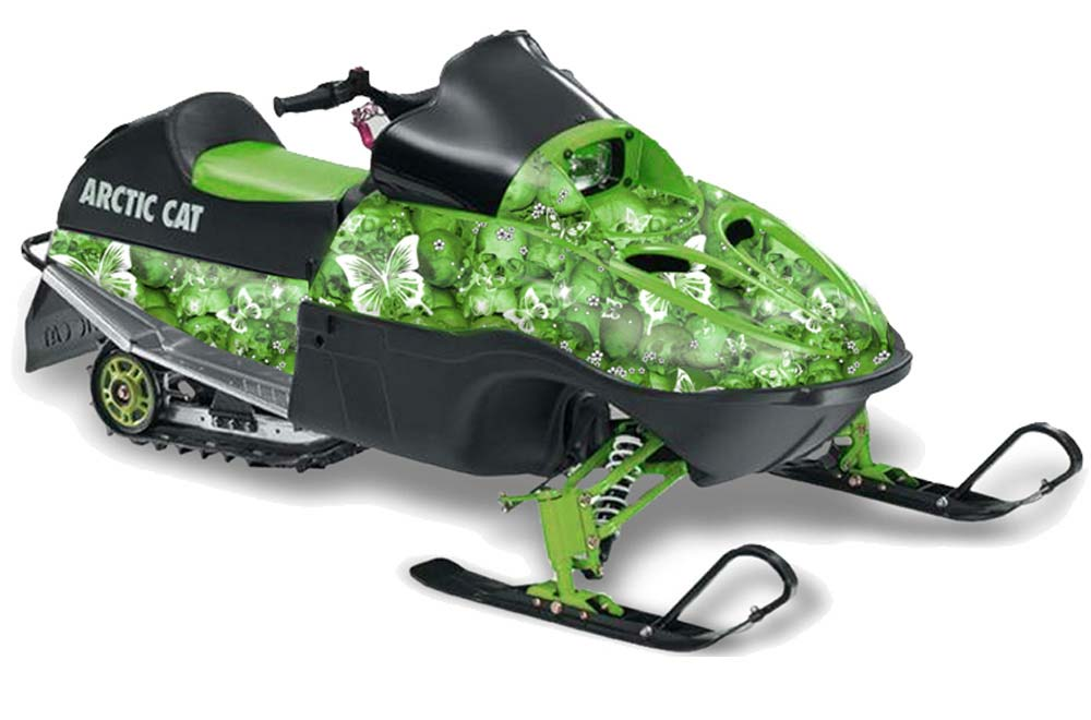 Arctic Cat 120 Sno Pro Youth Sled Graphics: Butterflies - Green Snowmobile Graphic Decal Wrap Kit