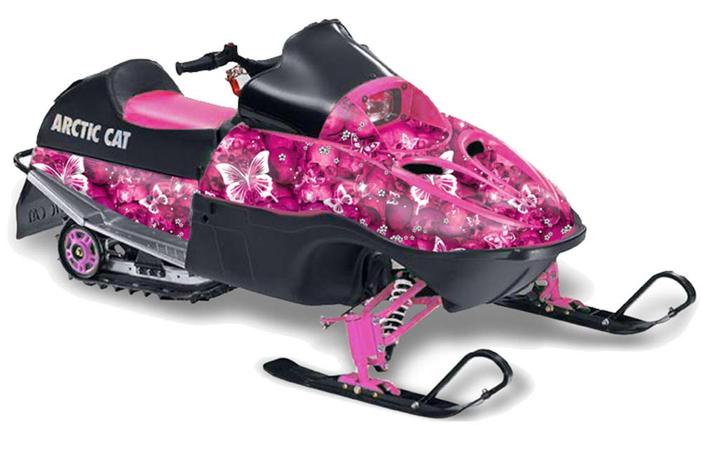 Arctic Cat 120 Sno Pro Youth Sled Graphics: Butterflies - Pink Snowmobile Graphic Decal Wrap Kit
