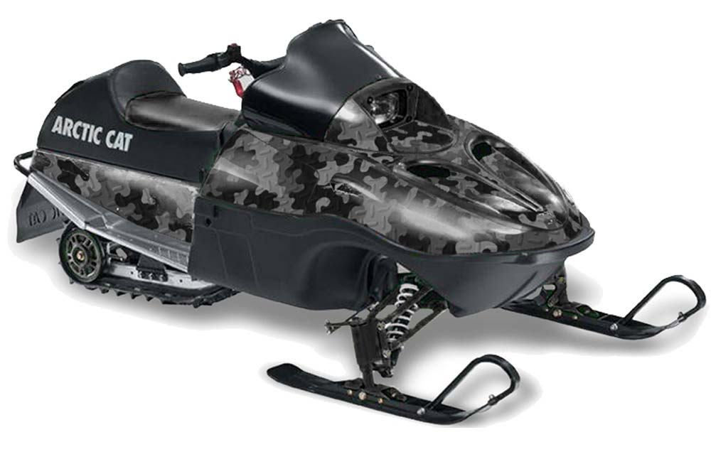 Arctic Cat 120 Sno Pro Youth Sled Graphics: Camoplate - Black Snowmobile Graphic Decal Wrap Kit