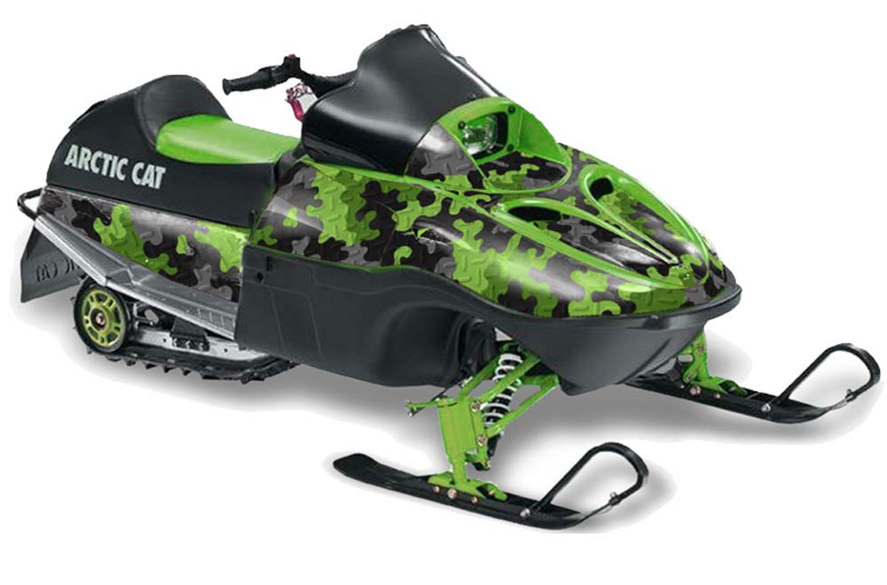 Arctic Cat 120 Sno Pro Youth Sled Graphics: Camoplate - Green Snowmobile Graphic Decal Wrap Kit