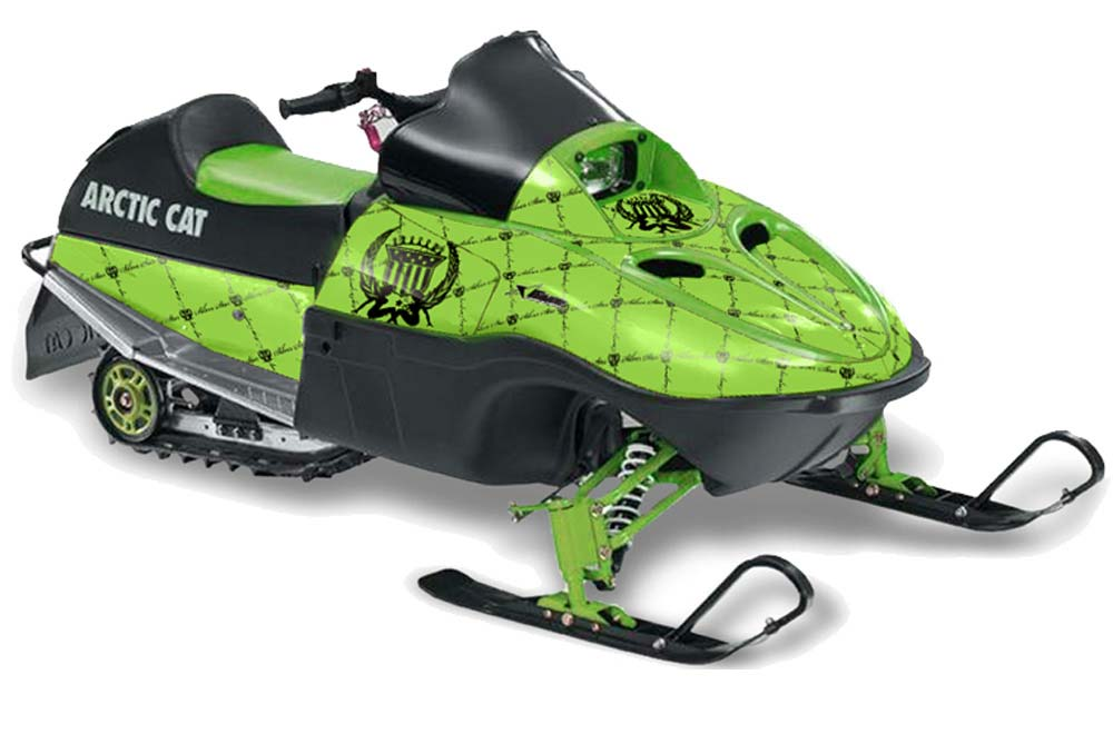 Arctic Cat 120 Sno Pro Youth Sled Graphics: Silver Star Reloaded - Black Green Snowmobile Graphic Decal Wrap Kit