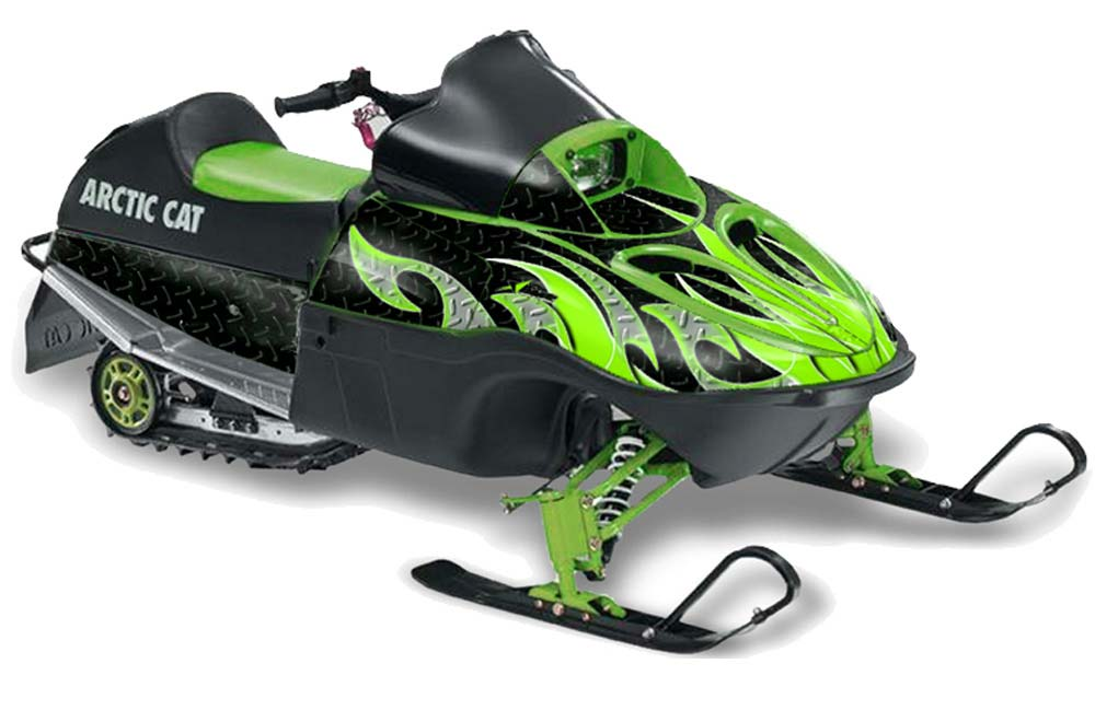 Arctic Cat 120 Sno Pro Youth Sled Graphics: Tribal Flames - Green Black Snowmobile Graphic Decal Wrap Kit