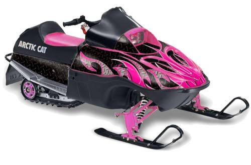 Arctic Cat 120 Sno Pro Youth Sled Graphics: Tribal Flames - Pink Black Snowmobile Graphic Decal Wrap Kit