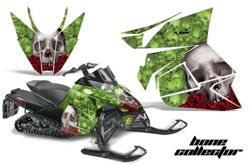 Arctic Cat ProCross Sno Pro Sled Graphics: Bone Collector - Green Snowmobile Graphic Decal Wrap Kit