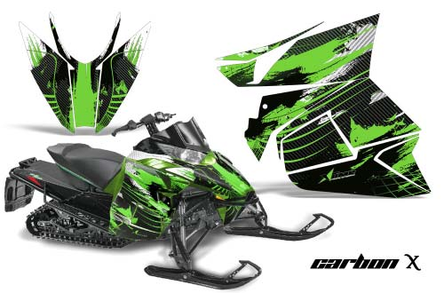 Arctic Cat ProCross Sno Pro Sled Graphics: Carbon X - Green Snowmobile Graphic Decal Wrap Kit