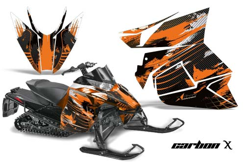 Arctic Cat ProCross Sno Pro Sled Graphics: Carbon X - Orange Snowmobile Graphic Decal Wrap Kit
