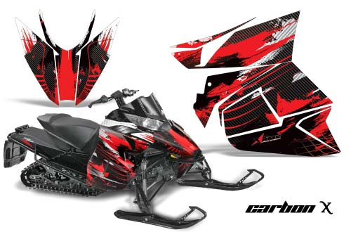 Arctic Cat ProCross Sno Pro Sled Graphics: Carbon X - Red Snowmobile Graphic Decal Wrap Kit