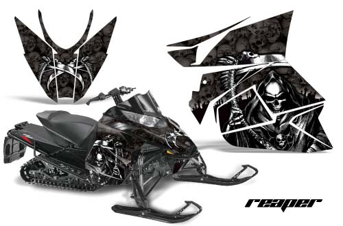 Arctic Cat ProCross Sno Pro Sled Graphics: Reaper - Black Snowmobile Graphic Decal Wrap Kit