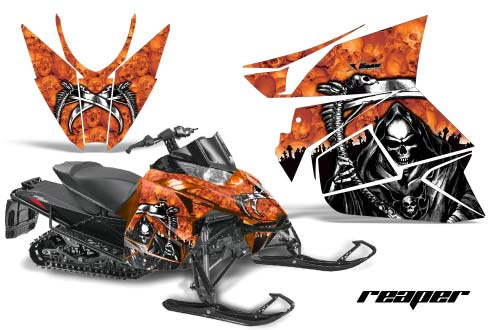 Arctic Cat ProCross Sno Pro Sled Graphics: Reaper - Orange Snowmobile Graphic Decal Wrap Kit