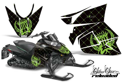 Arctic Cat ProCross Sno Pro Sled Graphics: Silver Star Reloaded - Green Snowmobile Graphic Decal Wrap Kit