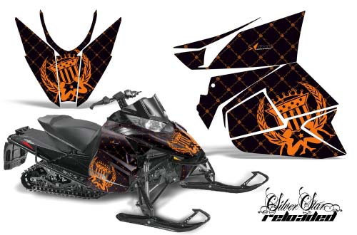 Arctic Cat ProCross Sno Pro Sled Graphics: Silver Star Reloaded - Orange Snowmobile Graphic Decal Wrap Kit