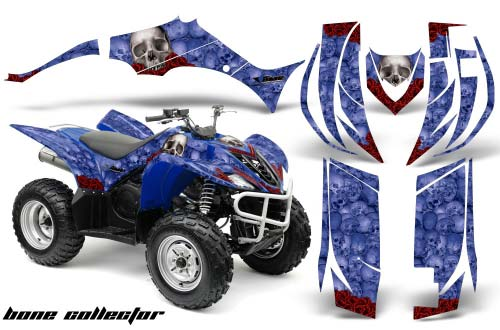 Yamaha Wolverine ATV Graphics: Bone Collector- Blue Quad Graphic Decal Wrap Kit