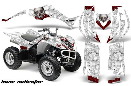 Yamaha Wolverine ATV Graphics: Bone Collector- White Quad Graphic Decal Wrap Kit