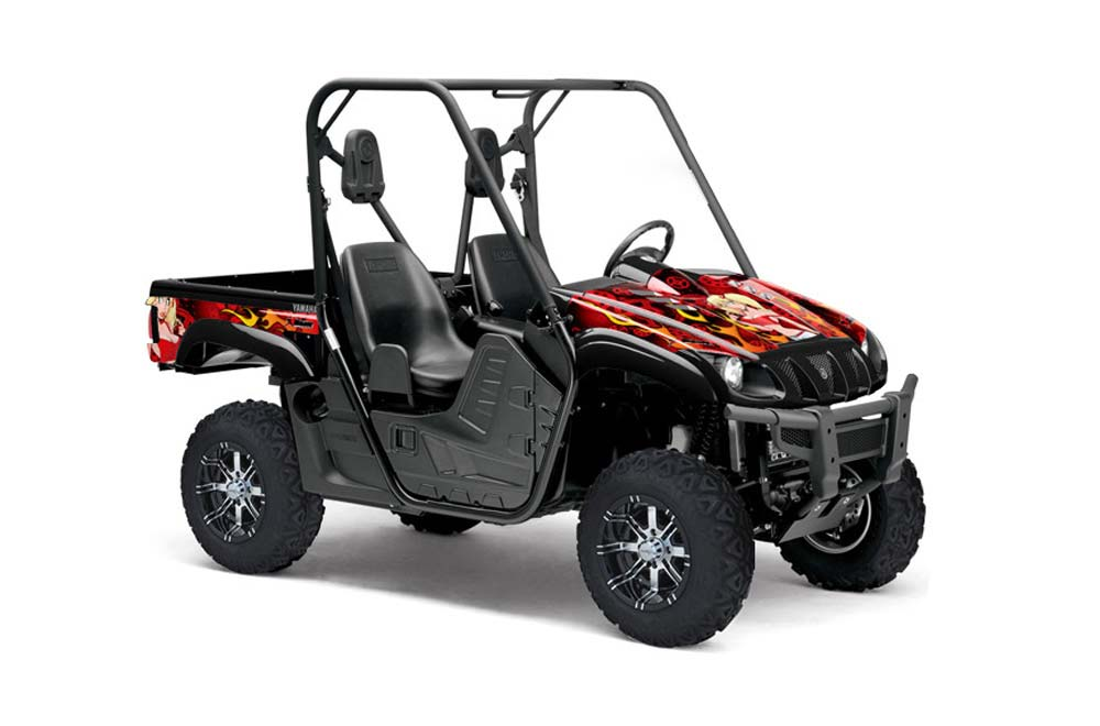 Yamaha Rhino 700/660/450 UTV Graphics (2004-2012) Motorhead Mandy - Red  Side by Side Graphic Decal Wrap Kit