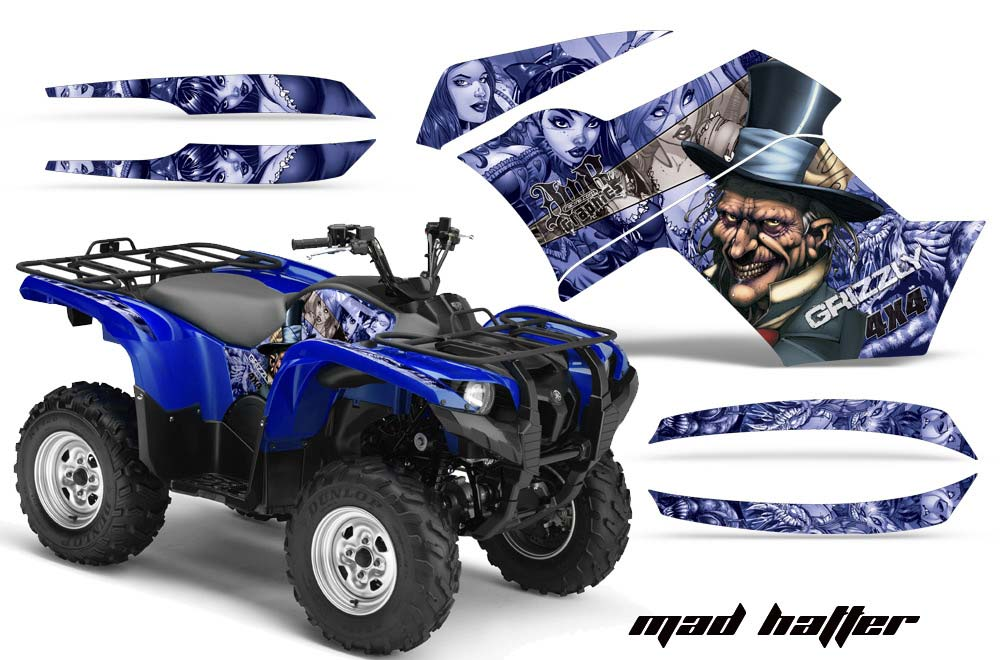 Yamaha Grizzly 700,550 ATV Graphics: Mad Hatter - Blue Quad Graphic Decal Wrap Kit