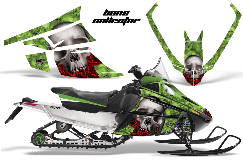 Arctic Cat F Z1 Series Sled Graphics: Bone Collector - Green Snowmobile Graphic Decal Wrap Kit