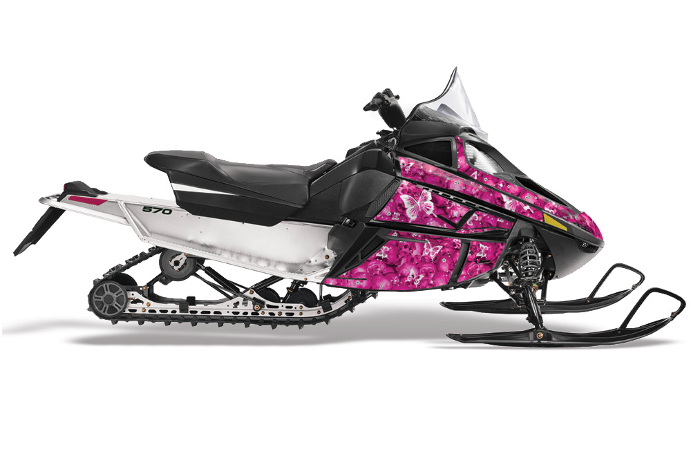 Arctic Cat F Z1 Series Sled Graphics: Butterflies - Pink Snowmobile Graphic Decal Wrap Kit