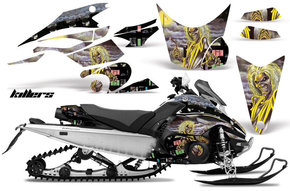 Yamaha FX Nytro Sled Graphics: Iron Maiden Killers - Yellow Snowmobile Graphic Decal Wrap Kit