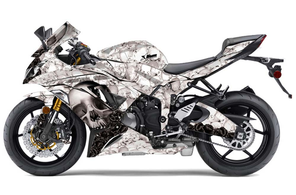 Kawasaki ZX-6R 636 Ninja Street Bike Graphics: Bone Collector - White Sport Bike Graphic Kit