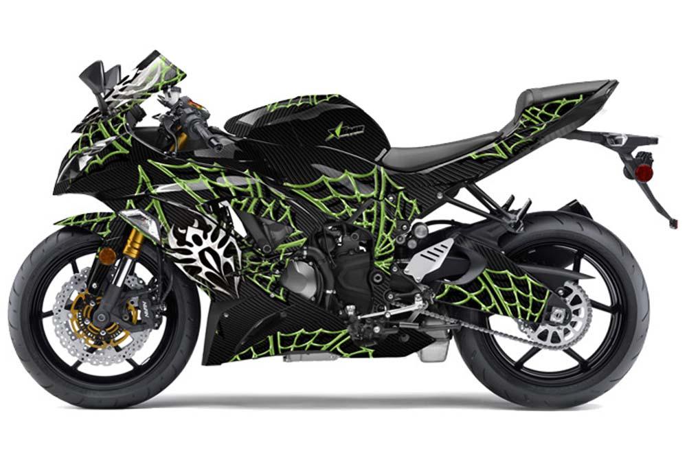 Kawasaki ZX-6R 636 Ninja Street Bike Graphics: Widow Maker - Green Sport Bike Graphic Kit