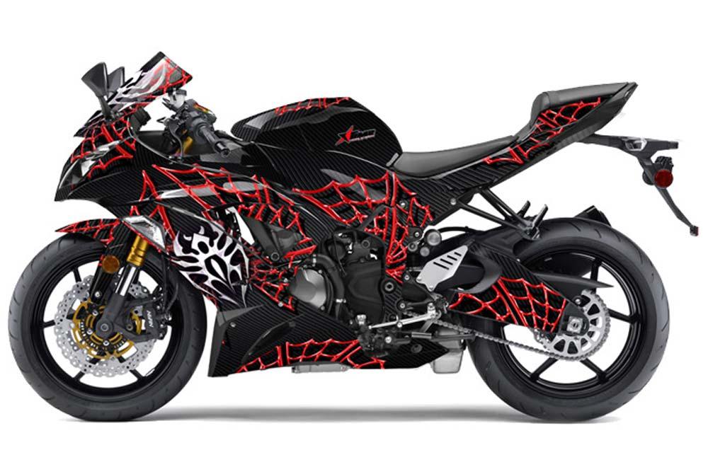 Kawasaki ZX-6R 636 Ninja Street Bike Graphics: Widow Maker - Red Sport Bike Graphic Kit
