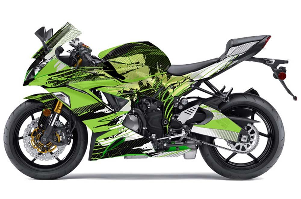 Kawasaki ZX-6R 636 Ninja Street Bike Graphics: Carbon X - Green Sport Bike Graphic Kit