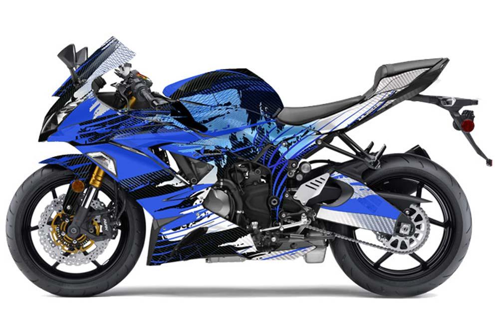 Kawasaki ZX-6R 636 Ninja Street Bike Graphics: Carbon X - Blue Sport Bike Graphic Kit