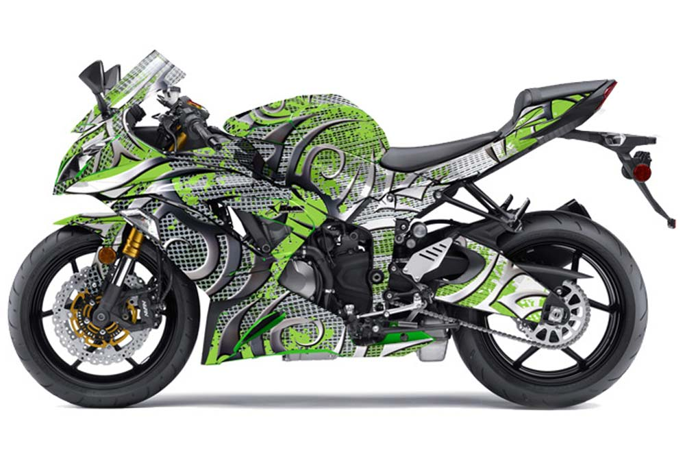 Kawasaki ZX-6R 636 Ninja Street Bike Graphics: Deaden - Green Sport Bike Graphic Kit