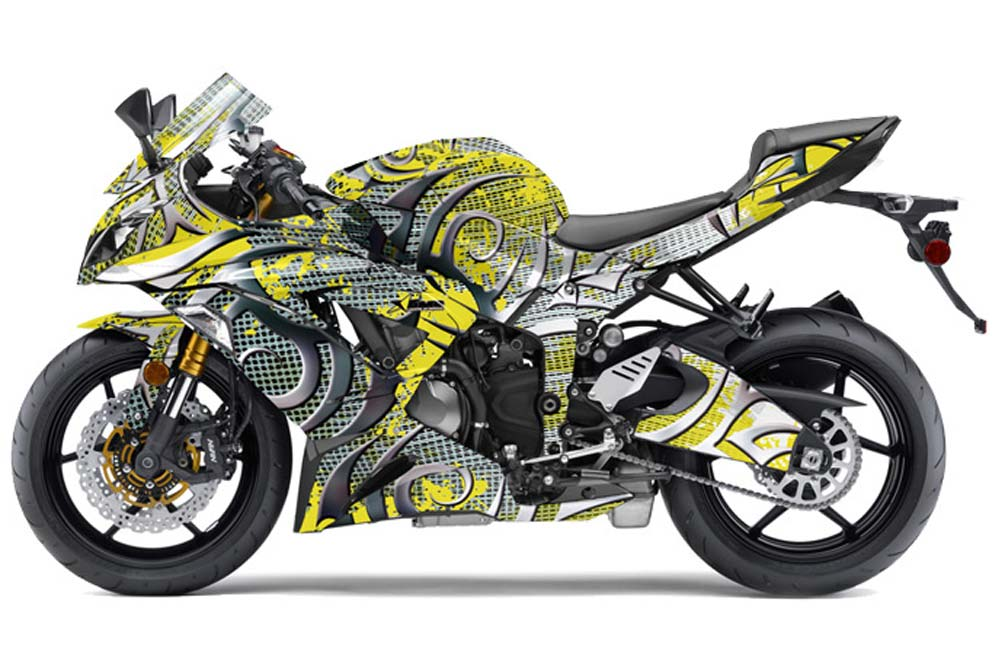 Kawasaki ZX-6R 636 Ninja Street Bike Graphics: Deaden - Yellow Sport Bike Graphic Kit
