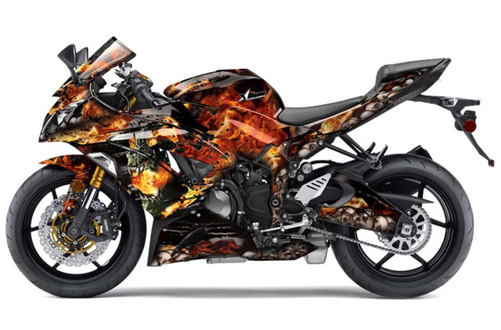 Kawasaki ZX-6R 636 Ninja Street Bike Graphics: Firestorm - Black Sport Bike Graphic Kit