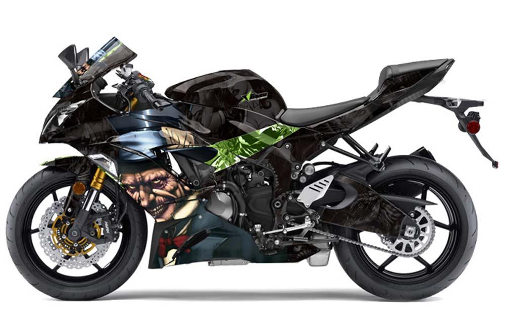 Kawasaki ZX-6R 636 Ninja Street Bike Graphics: Mad Hatter - Green Sport Bike Graphic Kit