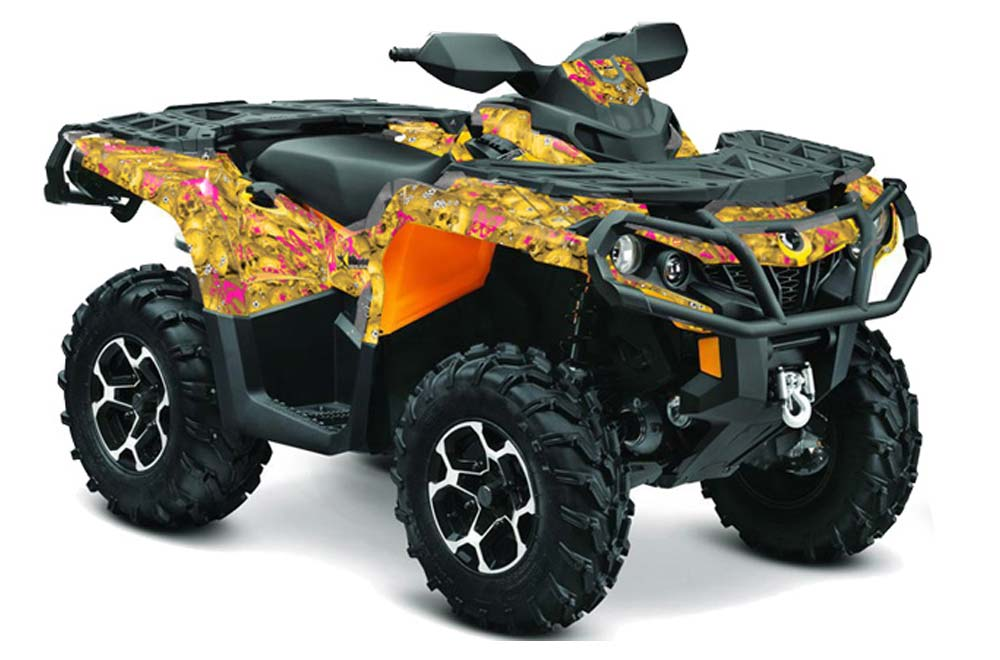 Can Am Outlander XT DPS SST ATV Graphics: Butterfly - Pink Yellow Quad Graphic Decal Wrap Kit