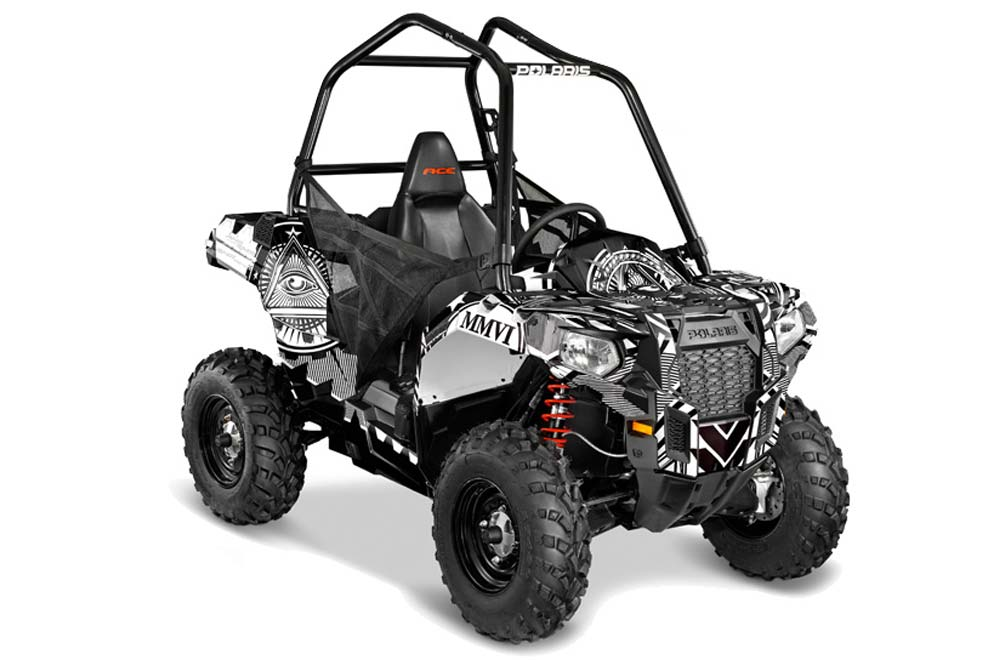 Polaris Sportsman ACE ATV Graphics: Conspiracy - Black White Quad Graphic Decal Wrap Kit