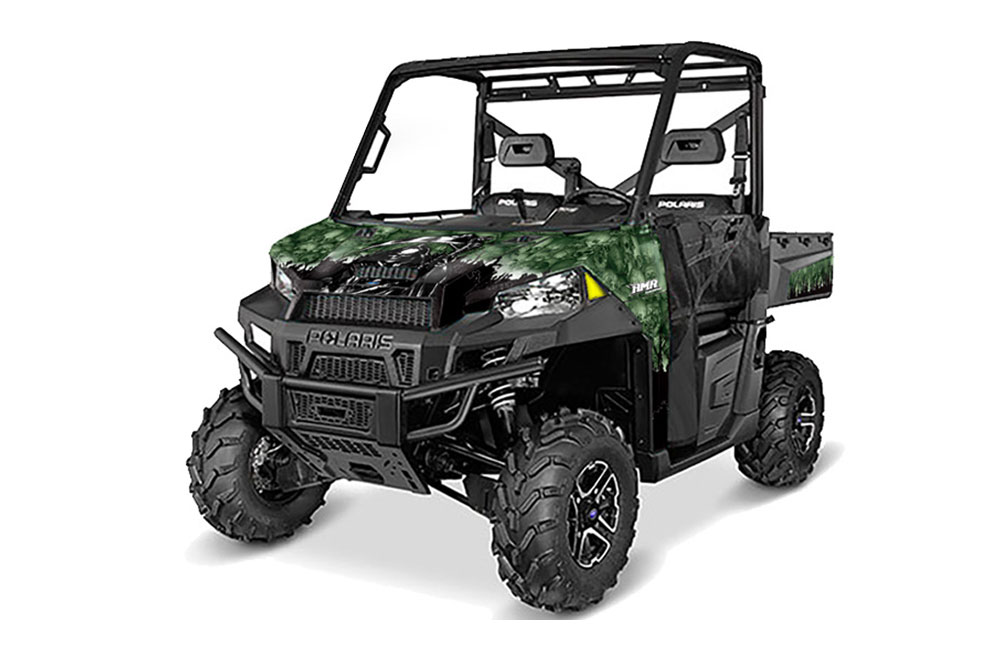 Polaris Ranger 570/900 XP UTV Graphics: Reaper - Green Side by Side Graphic Decal Wrap Kit