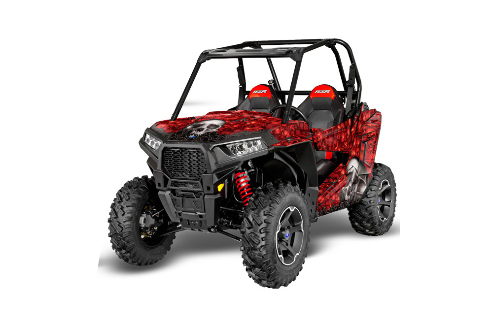 Polaris RZR 900S UTV Graphics: Bone Collector - Red Side by Side Graphic Decal Wrap Kit