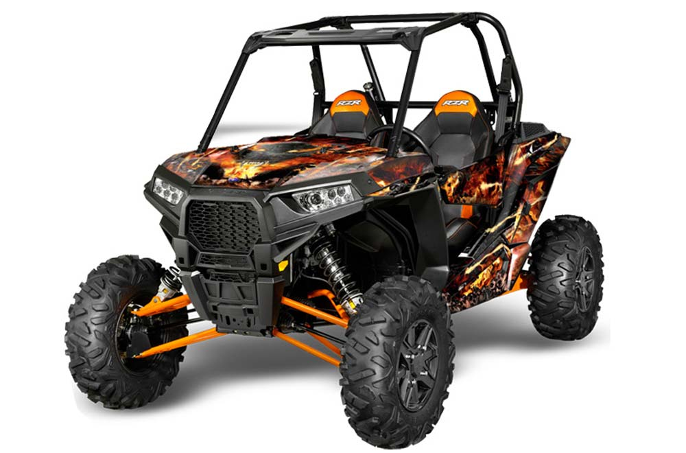 Polaris RZR 1000 XP Graphics: Firestorm - Black Side by Side Graphic Decal Wrap Kit